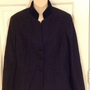 NEW W by Worth New York Navy Blue Metallic Blazer
